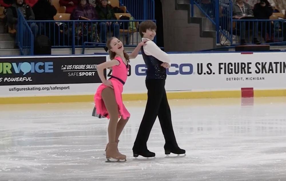 Intermediate level Free Dance, Zoe Sensenbrenner and Matthew Sperry from Wheaton Ice Skating Academy.